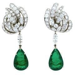 18.73 Carat Colombian Emerald Earrings