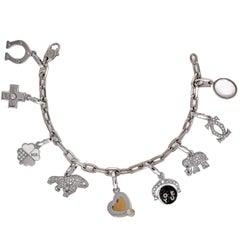Cartier Diamond White Gold 9 Charm Bracelet