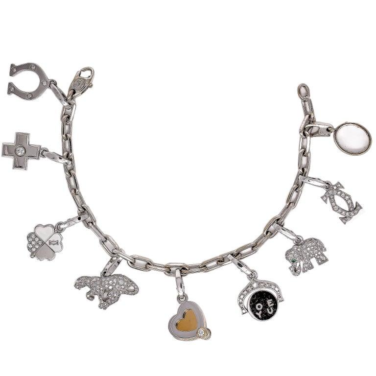 Cartier Diamond White Gold 9 Charm Bracelet 1