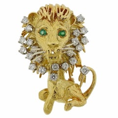 Gold Diamond Gemstone Lion Brooch Pin