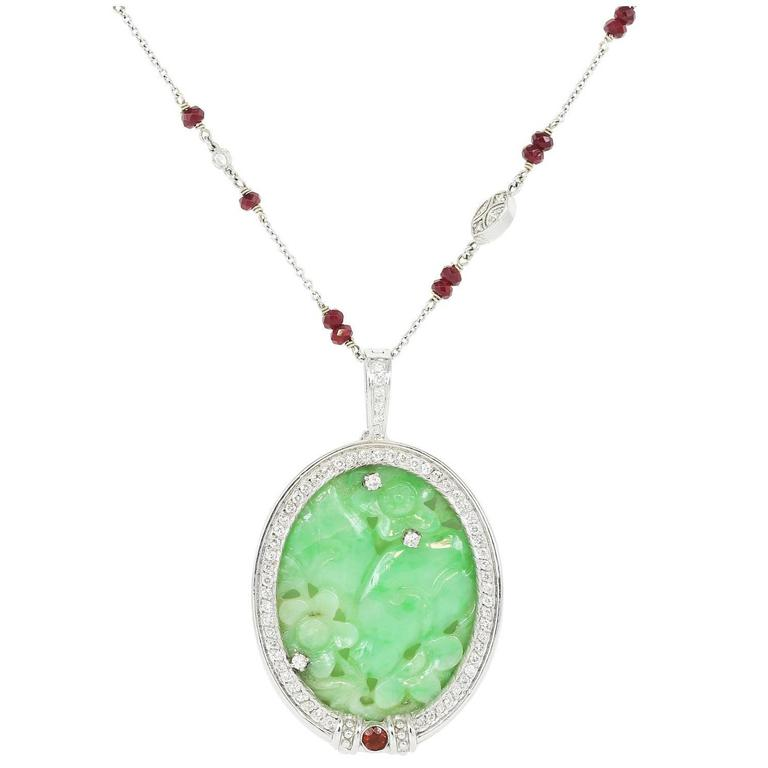 12 Carat Carved Jadeite Jade Pendant with Ruby Chain