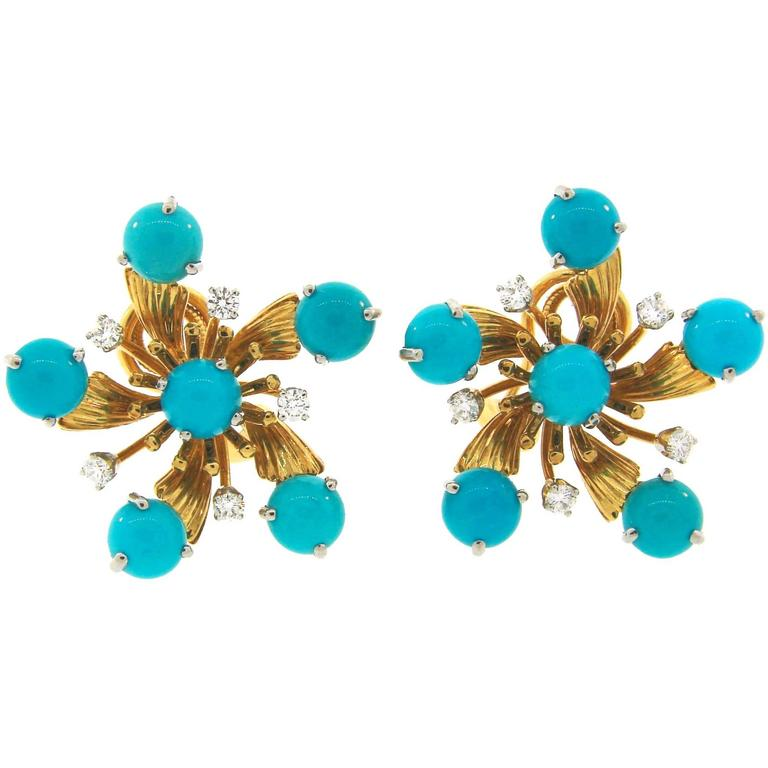 Tiffany & Co. by Schlumberger Turquoise Diamond Yellow Gold Earrings For Sale