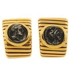 1970s Bulgari Ancient Roman Coin Yellow Gold Earrings Bvlgari
