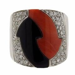 G. Bulgari Enigma Gold Diamond Onyx Coral Arrow Ring