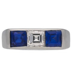 Cartier Diamond and Sapphire Three Stone Ring, French, circa 1950