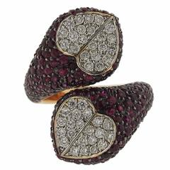 G. Bulgari Enigma Gold Diamond Ruby Heart Bypass Ring