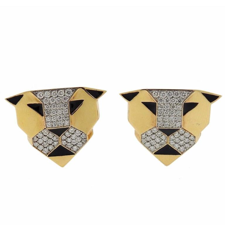 G Bulgari Enigma Gold Diamond Panther Earrings For