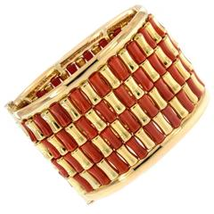 Red Coral Gold Hand-Fabricated Hinged Bracelet
