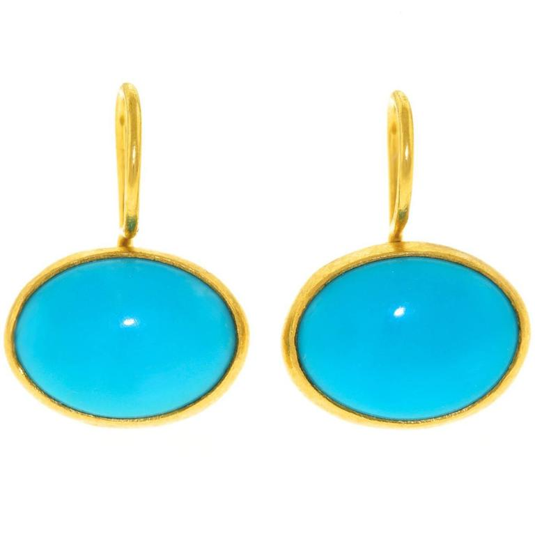 Persian Turquoise 22 Karat Gold Earrings For