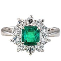 Emerald Diamond Cluster Platinum Ring