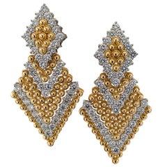 Triangular Door Knocker Diamond Yellow Gold Platinum Clipon Earrings