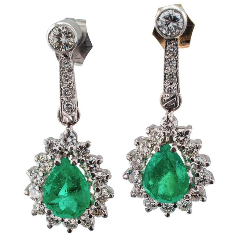 Pear-Shaped Emerald Diamond White Gold Drop Earrings