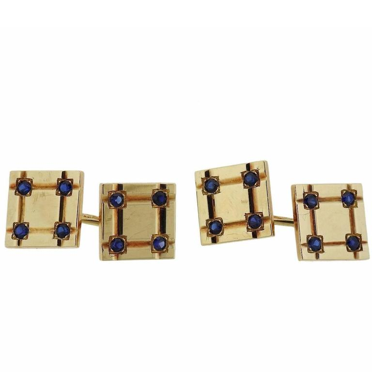 Tiffany & Co. Mid-Century Gold Sapphire Cufflinks For Sale