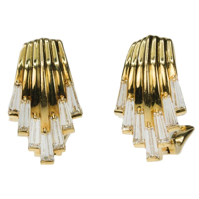 18 Karat Waterfall Diamond Earrings
