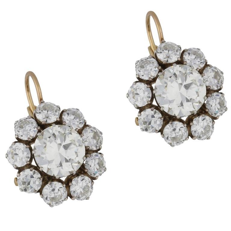Old Cut Diamond Detachable Cluster Drop Earrings For Sale