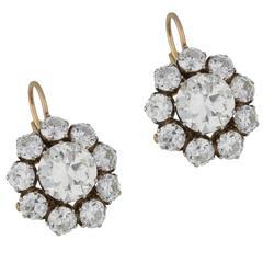 Old Cut Diamond Detachable Cluster Drop Earrings