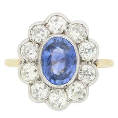 Vintage Sapphire and Diamond Halo Ring, circa 1960s