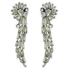 5.68 Carat Diamond Gold Drop Earrings