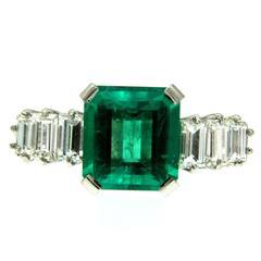 3.25 Carat Emerald Diamond Platinum Ring