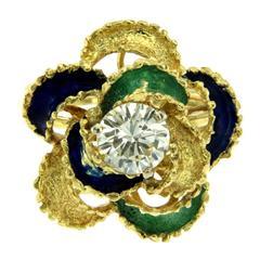 Diamond Enamel Gold Ring