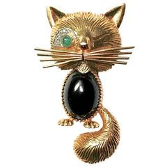 onyx emerald diamond gold cat brooch