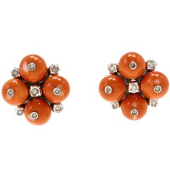 Red Coral Spheres, White Diamonds, 14K White Gold Clip-on Retrò Earrings