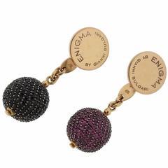 G. Bulgari Enigma Gold Spinel Sapphire Ball Cufflinks