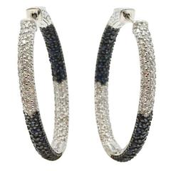 Sapphire Diamond White Gold Hoop Earrings