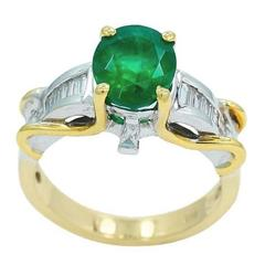 2.65 Carat Oval Emerald and  Diamond Engagement Ring
