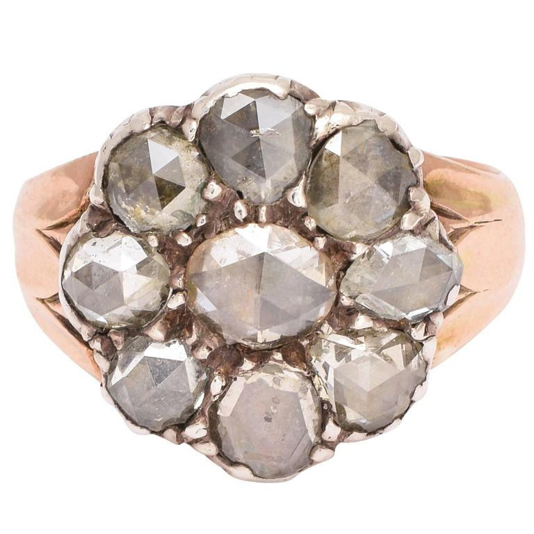 Antique Georgian Rose Cut Diamond Flower Cluster Ring