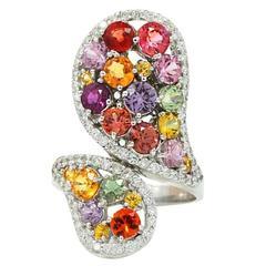 Multicolored Sapphire Diamond White Gold Ring