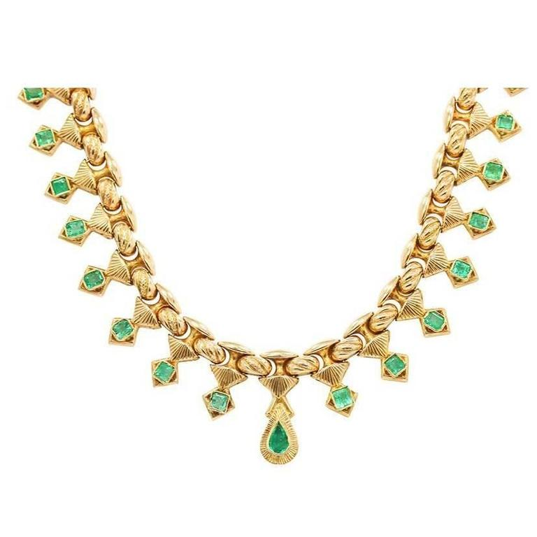 Emerald Yellow Gold Necklace