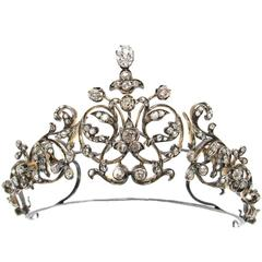 French Princely Family Collection Antique Diamond Tiara Convert Necklace Brooch