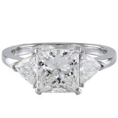 GIA Certified Princess Cut Diamond Platinum Engagement Ring