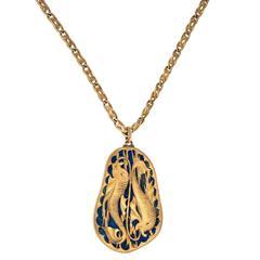 1970s Buccellati Lapis Lazuli Gold Pisces Zodiac Pendant
