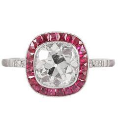 Old European Cut Diamond Ruby Platinum Solitaire Ring