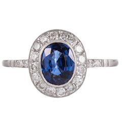 Sapphire Diamond Platinum Halo Solitaire Ring