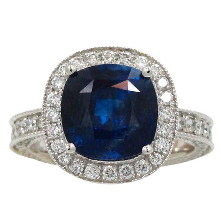 5.54 Carat Sapphire and Diamond  Engagement Ring