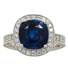 5.54 Carat Sapphire and Diamond  Engagement Ring