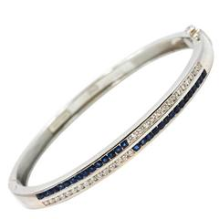 Sapphire Diamond Platinum Bangle Bracelet