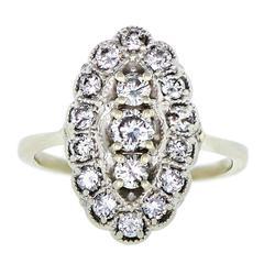 Ladies Diamond White Gold Cluster Ring circa 1950