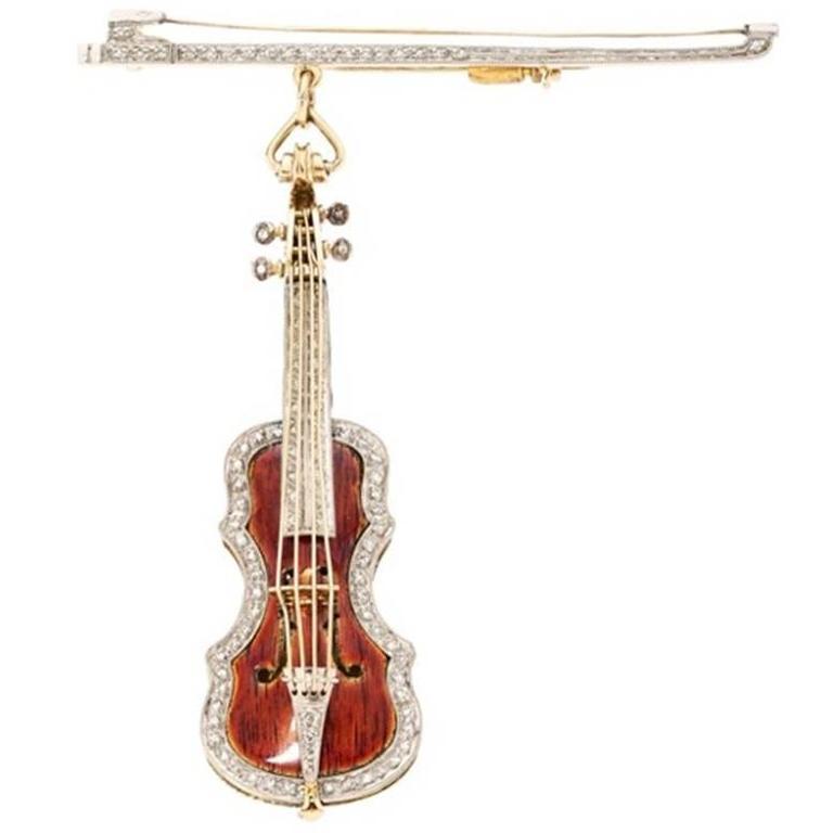 Diamond Enamel Gold Stradivarius Violin Brooch