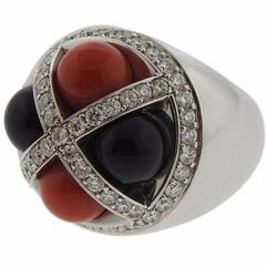 G. Bulgari Enigma Onyx Coral Diamond Gold Ring