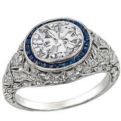 Amazing 1.50 Carat Diamond Sapphire platinum Halo Engagement Ring