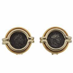 Bulgari Monete Gold Denario Antonino Pio Ancient Coin Earrings