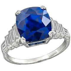 Art Deco Era 6.23 Carat Sapphire Diamond Engagement Ring