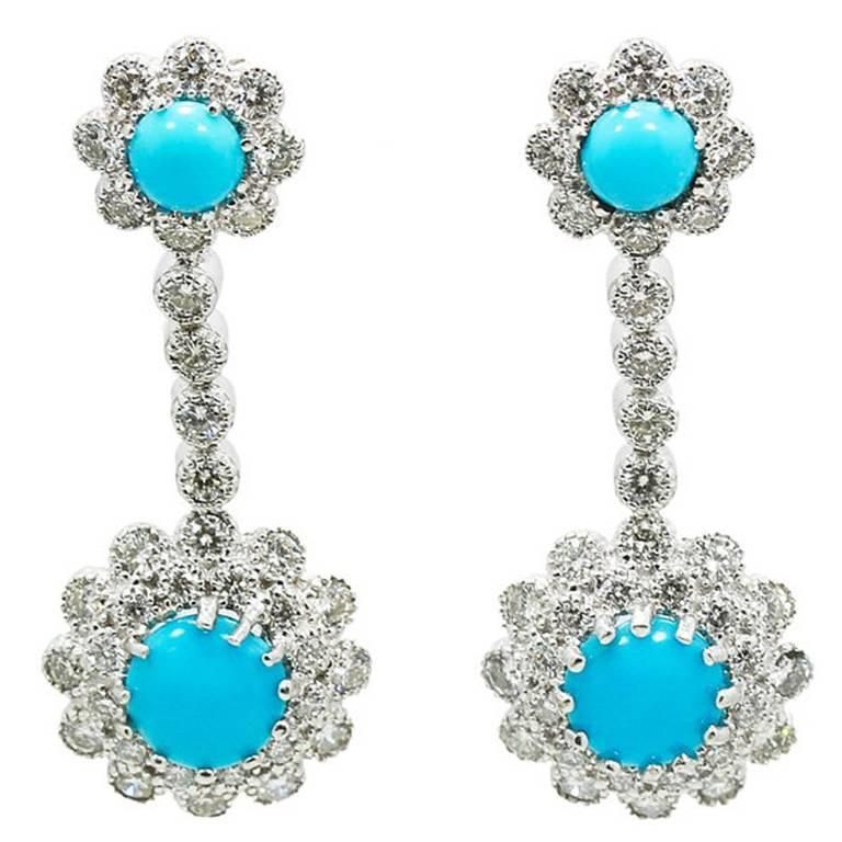 turquoise diamond white gold dangle earrings for sale at