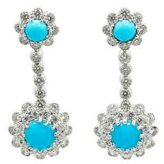 Turquoise Diamond White Gold Dangle Earrings