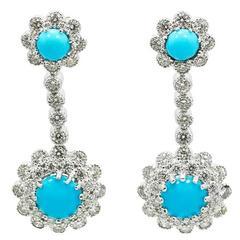 Turquoise Diamond White Gold Dangle Earrings