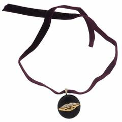 G. Bulgari Enigma Diamond Gold Jet Lips Choker Necklace